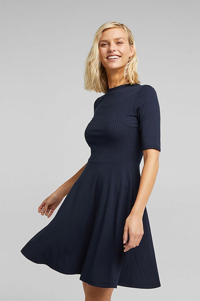 Ribgebreide jurk in een strepenlook, NAVY, detail image number 0
