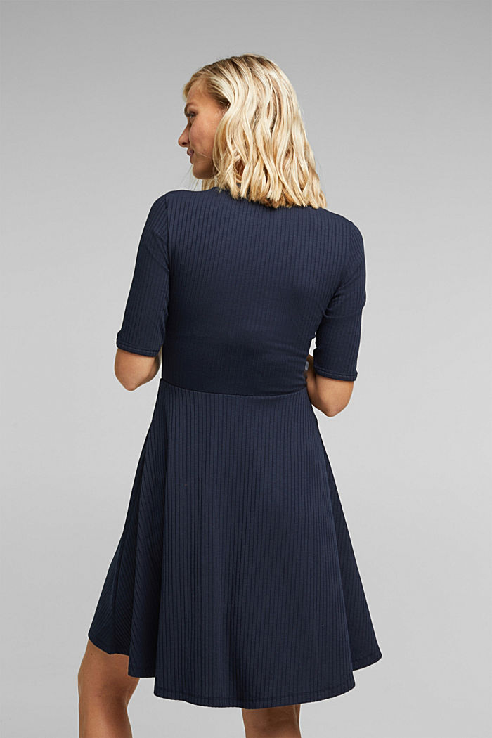Ribgebreide jurk in een strepenlook, NAVY, detail image number 2