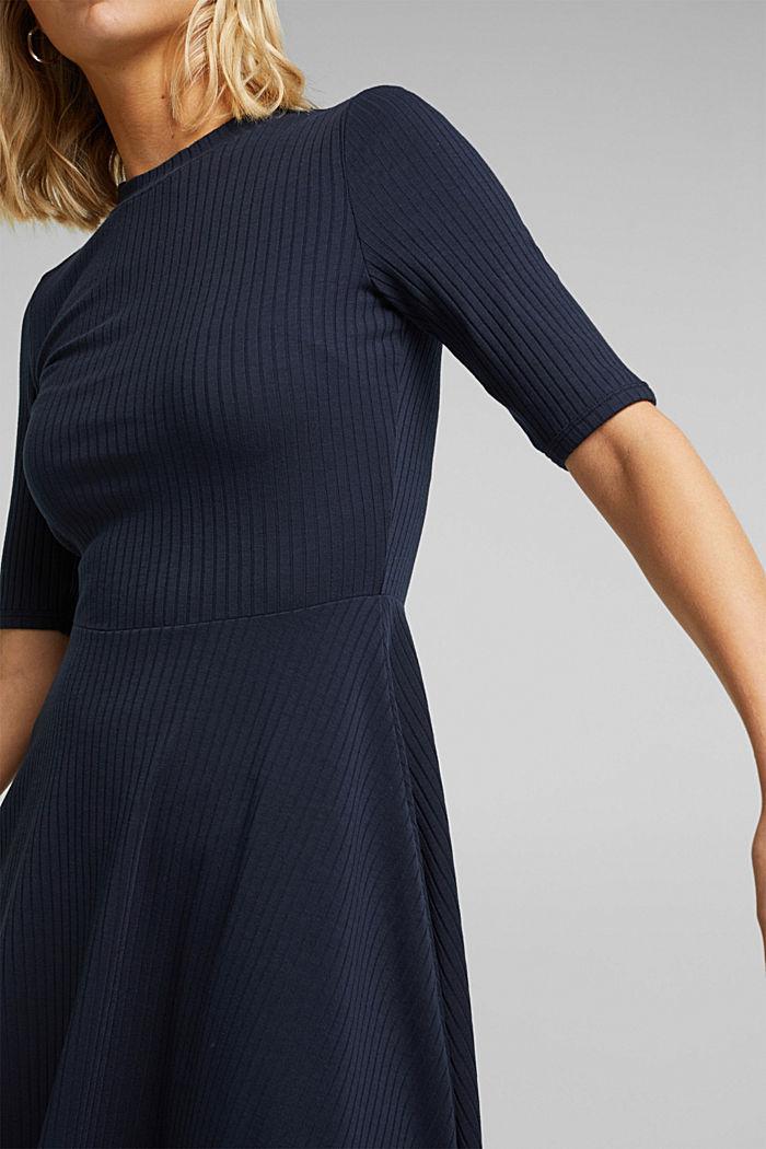 Ribgebreide jurk in een strepenlook, NAVY, detail image number 3