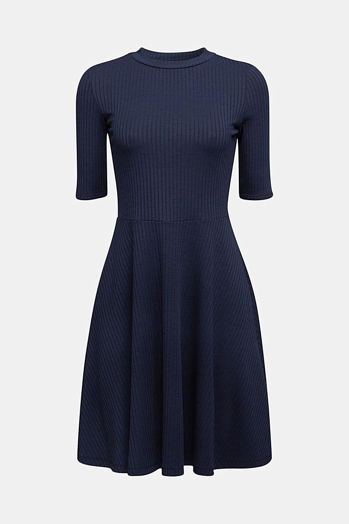Ribgebreide jurk in een strepenlook, NAVY, detail image number 5