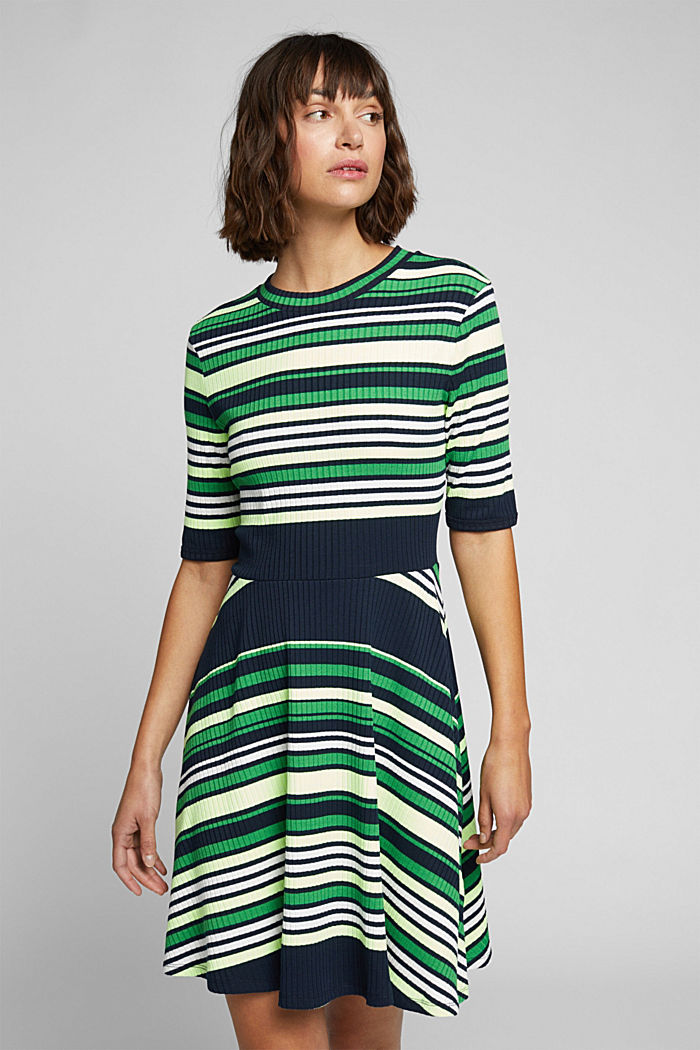 Rib knit dress in a striped look, NAVY/GREEN, detail image number 0