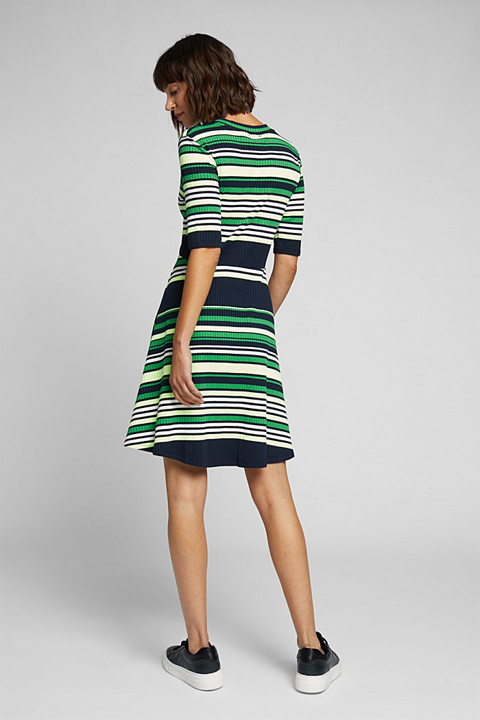 Rib knit dress in a striped look, NAVY/GREEN, detail image number 2