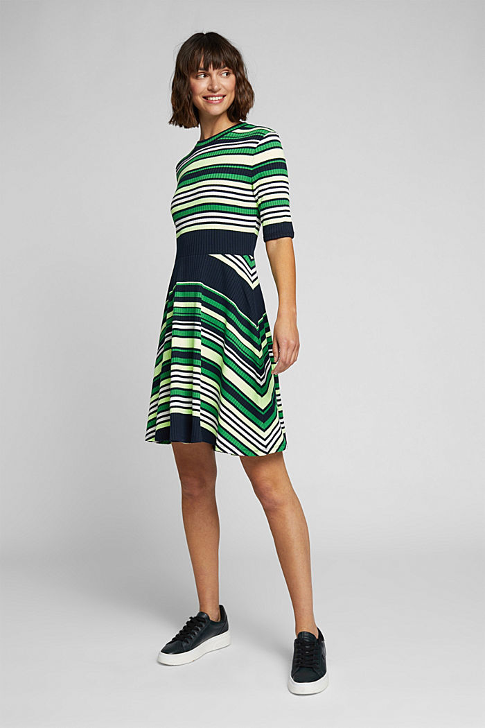 Rib knit dress in a striped look, NAVY/GREEN, detail image number 5
