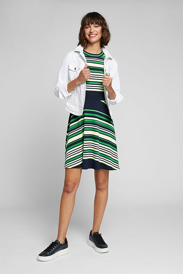 Rib knit dress in a striped look, NAVY/GREEN, detail image number 1