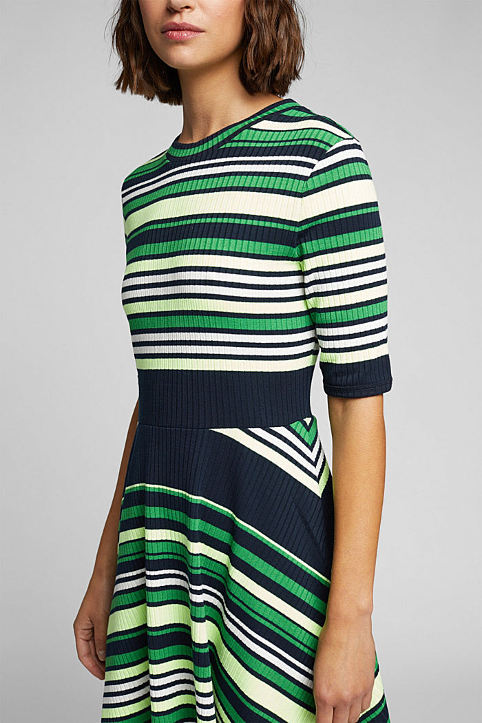 Rib knit dress in a striped look, NAVY/GREEN, detail image number 3