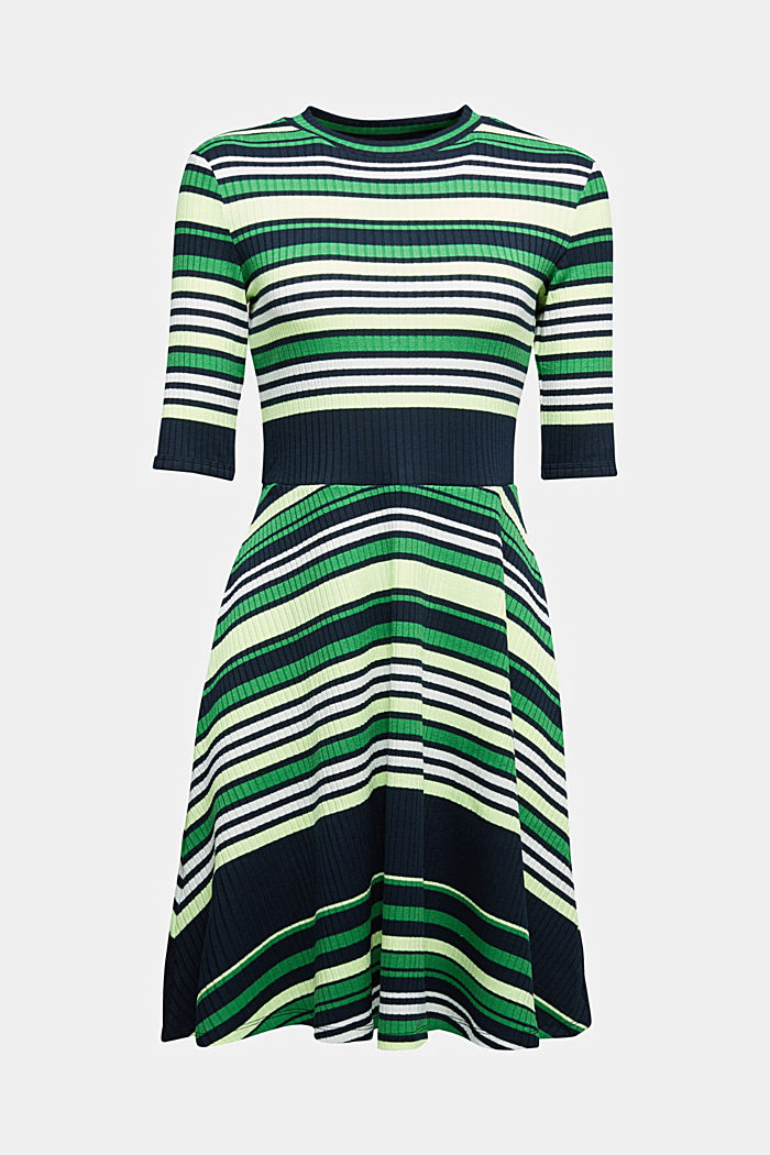 Rib knit dress in a striped look, NAVY/GREEN, detail image number 6