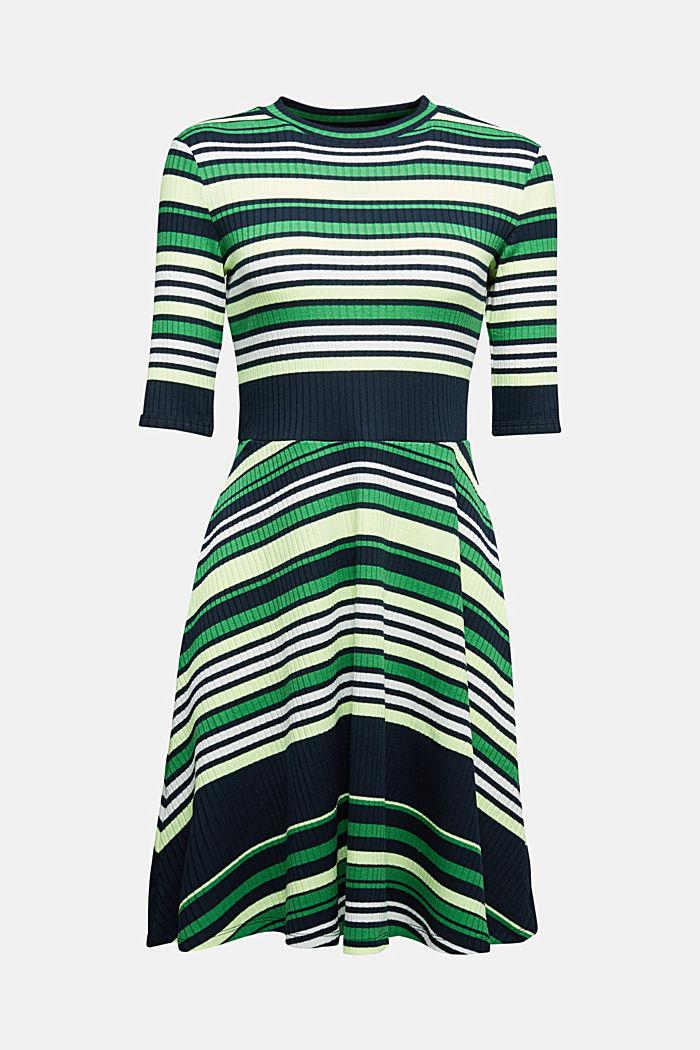 Rippstrick-Kleid im Streifen-Look, NAVY/GREEN, detail image number 6