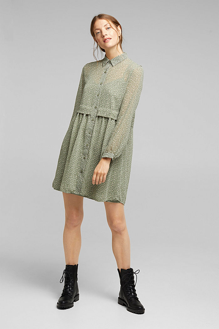 Recycled: mini dress made of chiffon, LIGHT KHAKI, detail image number 1