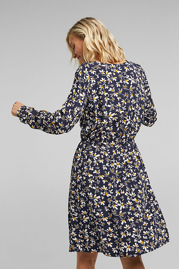 Dress with a floral print, made of LENZING™ ECOVERO™, NAVY, detail image number 2