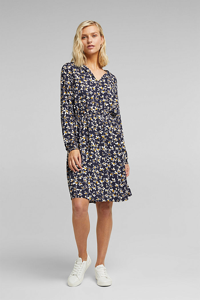 Dress with a floral print, made of LENZING™ ECOVERO™, NAVY, detail image number 1