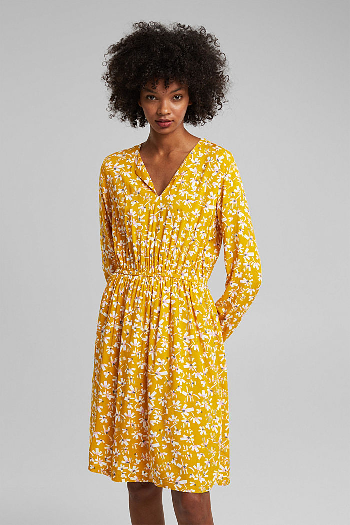 Dress with a floral print, made of LENZING™ ECOVERO™, BRASS YELLOW, detail image number 0