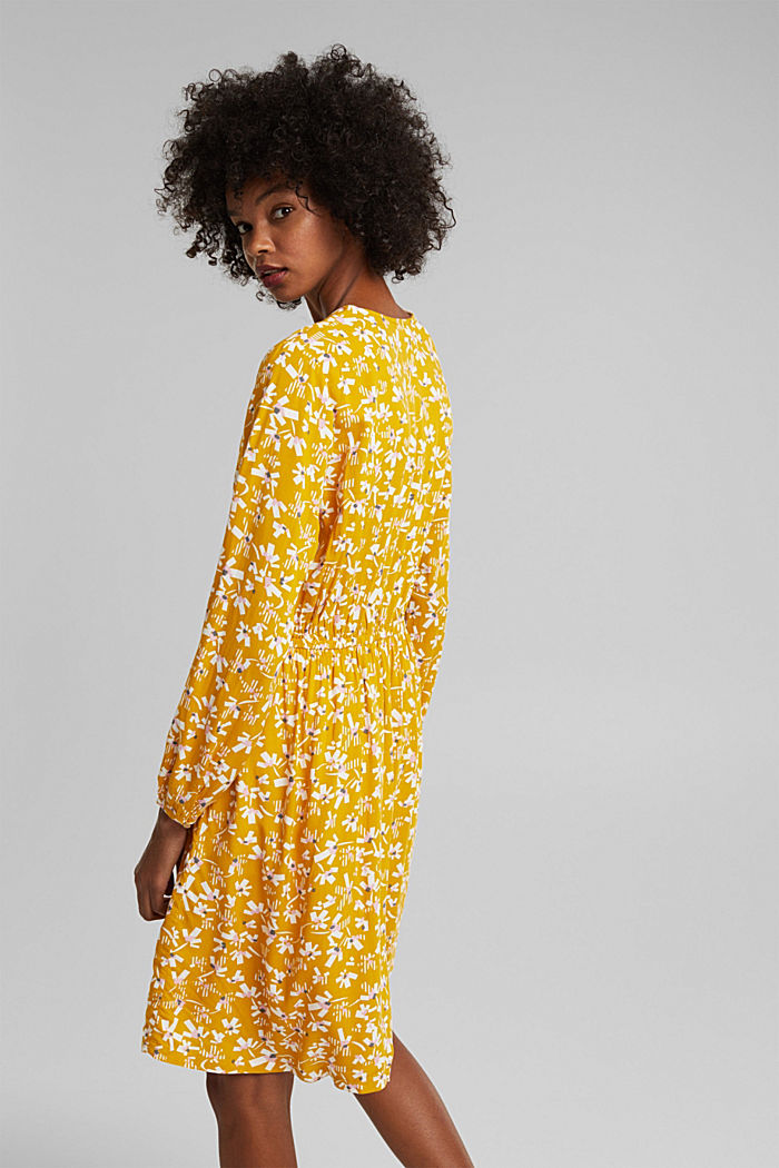 Dress with a floral print, made of LENZING™ ECOVERO™, BRASS YELLOW, detail image number 2