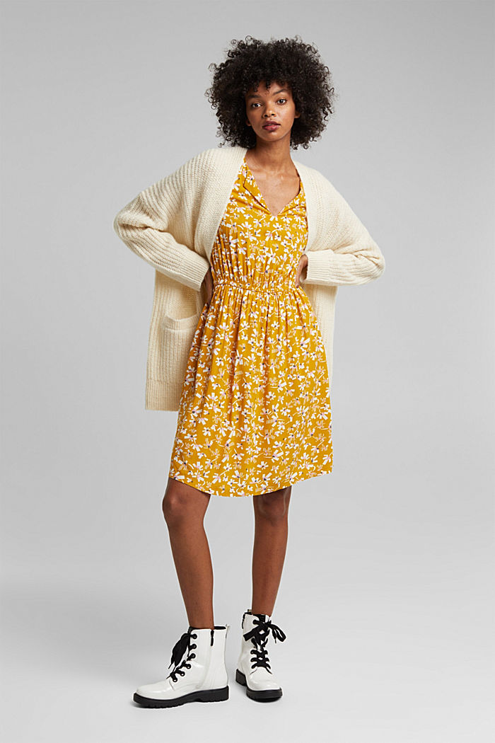 Dress with a floral print, made of LENZING™ ECOVERO™, BRASS YELLOW, detail image number 1