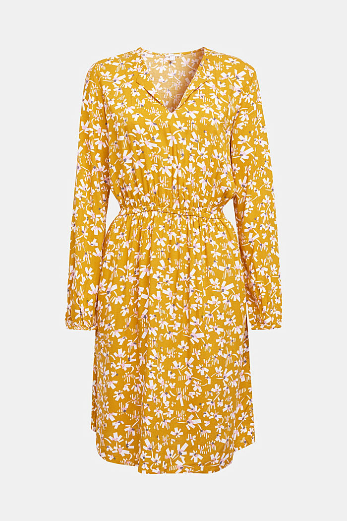 Dress with a floral print, made of LENZING™ ECOVERO™, BRASS YELLOW, detail image number 5