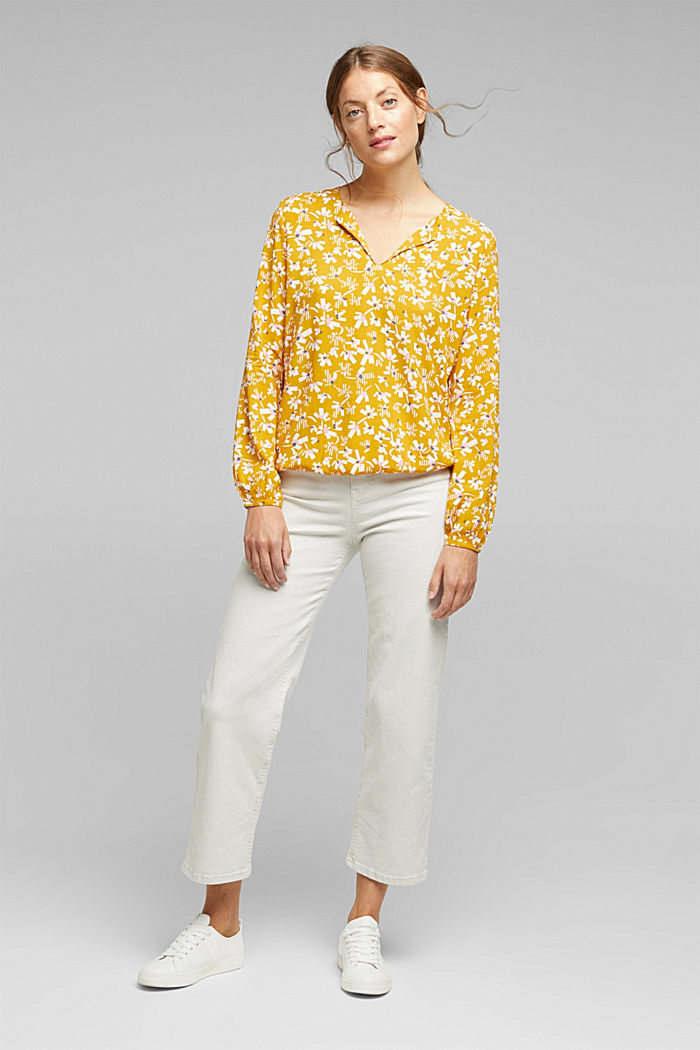 Blouse made of LENZING™ ECOVERO™ viscose, BRASS YELLOW, detail image number 1