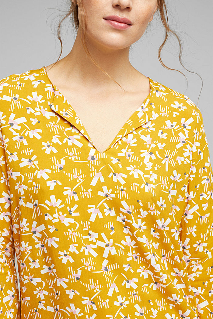 Blouse made of LENZING™ ECOVERO™ viscose, BRASS YELLOW, detail image number 2