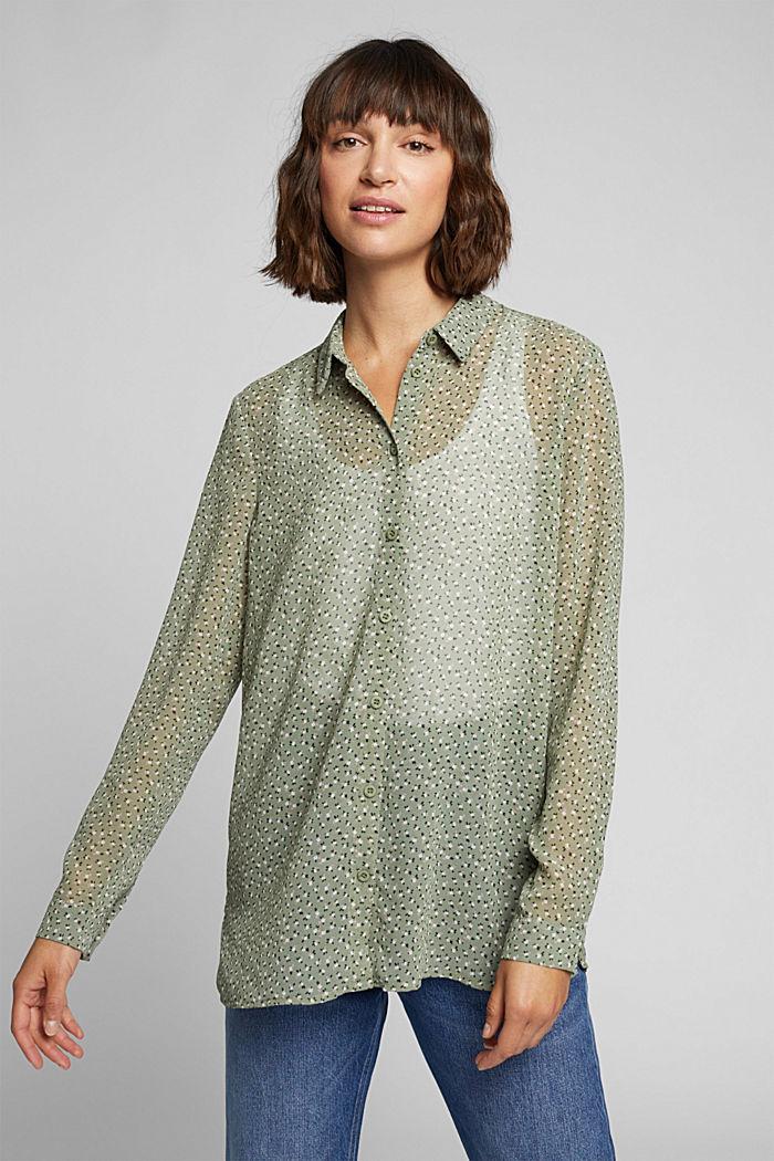 Recycled: sheer chiffon blouse, LIGHT KHAKI, detail image number 0