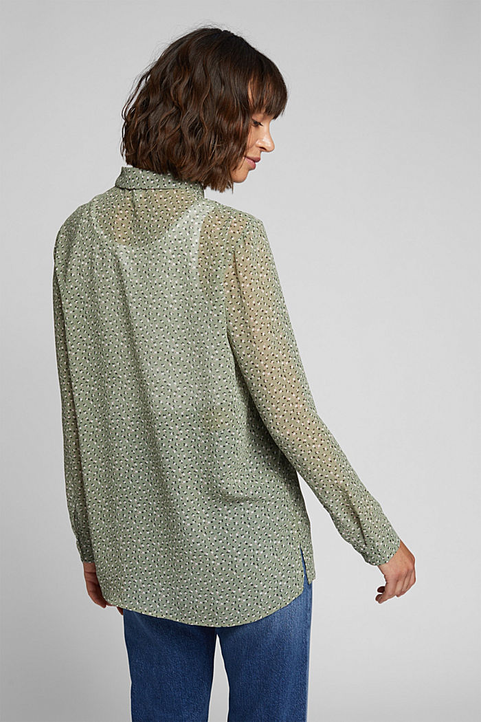 Recycled: sheer chiffon blouse, LIGHT KHAKI, detail image number 3