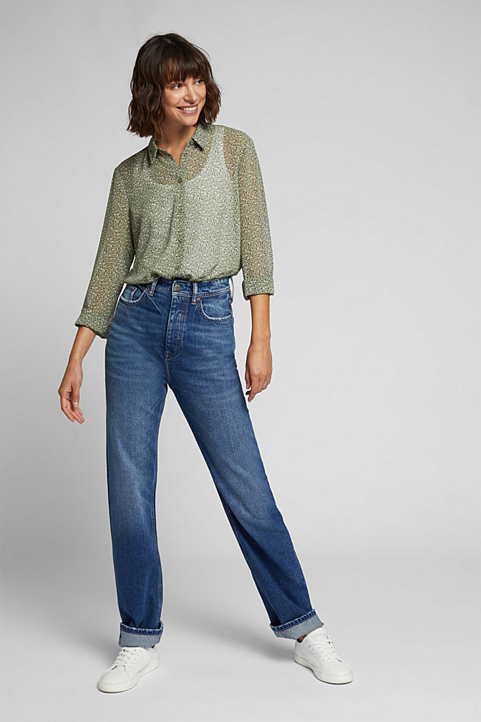 Recycled: sheer chiffon blouse, LIGHT KHAKI, detail image number 1