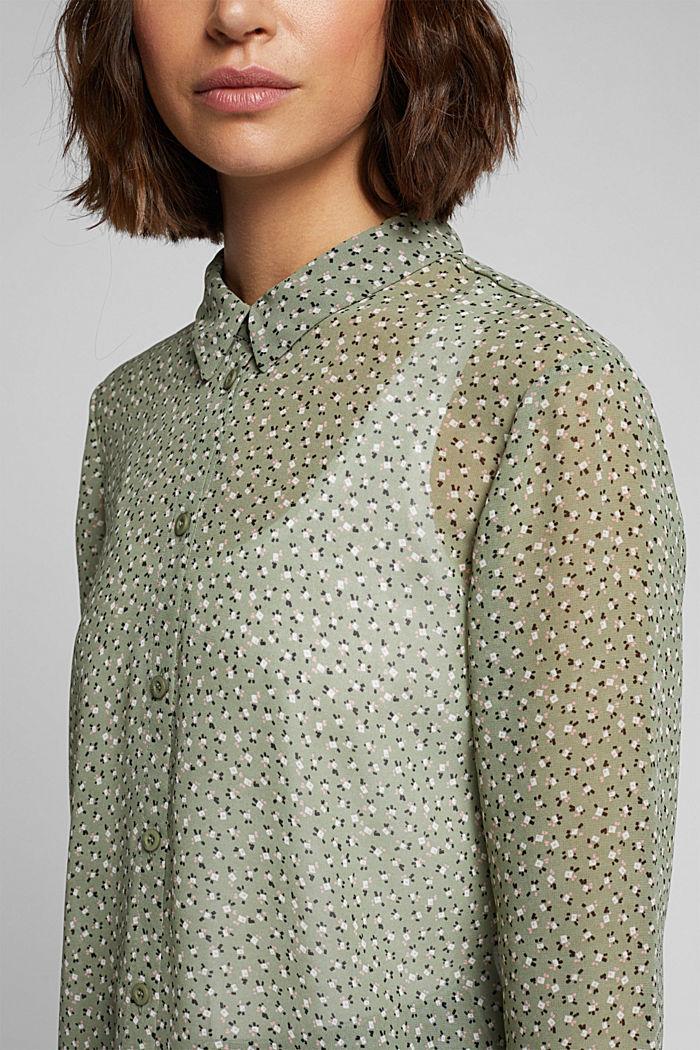 Recycled: sheer chiffon blouse, LIGHT KHAKI, detail image number 2