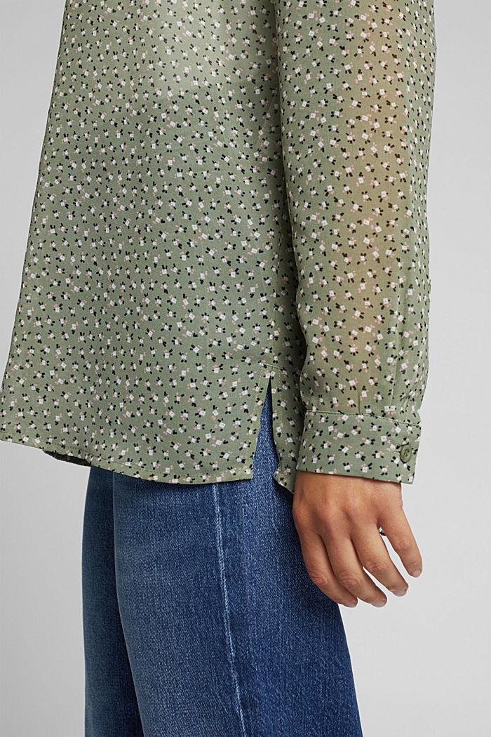 Recycled: sheer chiffon blouse, LIGHT KHAKI, detail image number 5