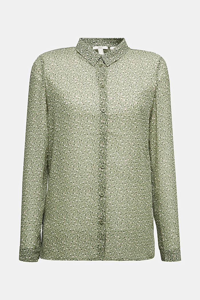Recycled: sheer chiffon blouse, LIGHT KHAKI, detail image number 7