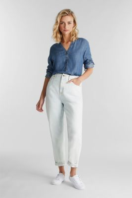 Made of TENCEL™: denim blouse, BLUE MEDIUM WASH, detail