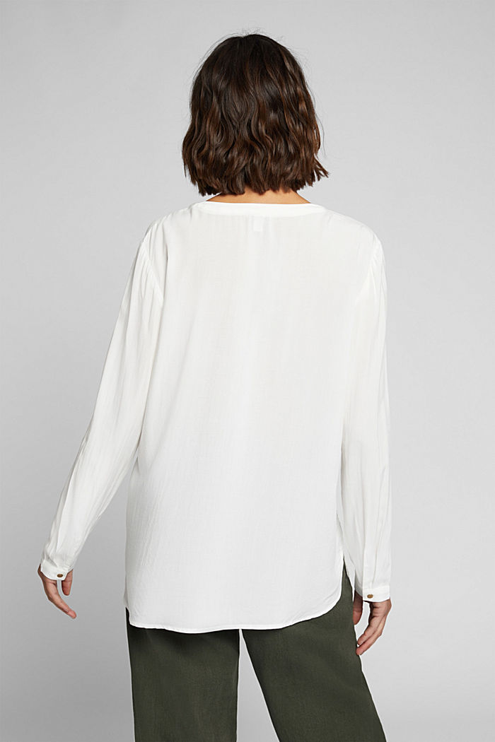 Henley blouse made of LENZING™ ECOVERO™, OFF WHITE, detail image number 3