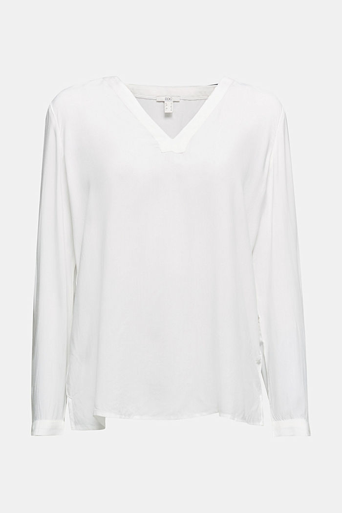 Henley blouse made of LENZING™ ECOVERO™, OFF WHITE, detail image number 6