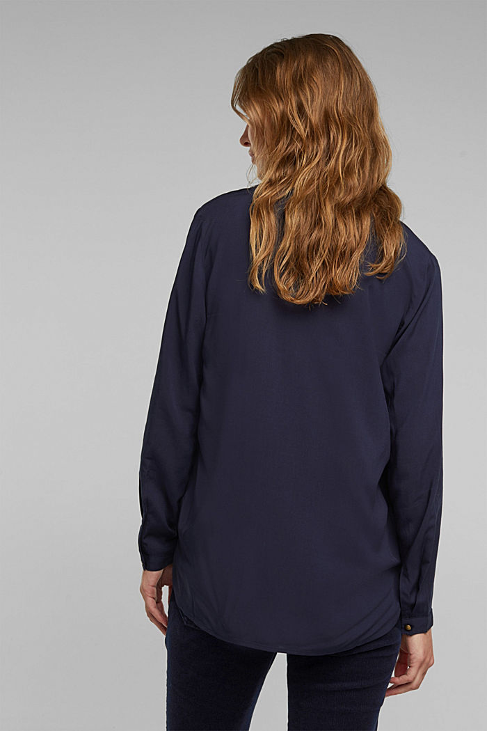 Henley-Bluse aus LENZING™ ECOVERO™, NAVY, detail image number 3
