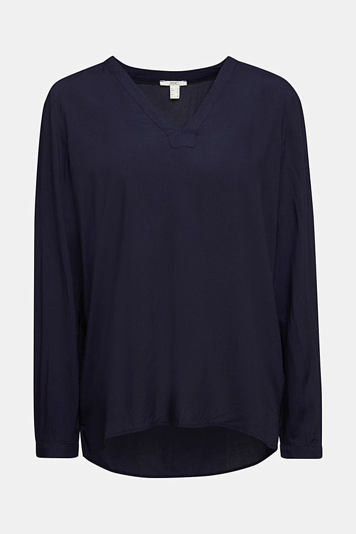 Henley-Bluse aus LENZING™ ECOVERO™, NAVY, detail image number 5