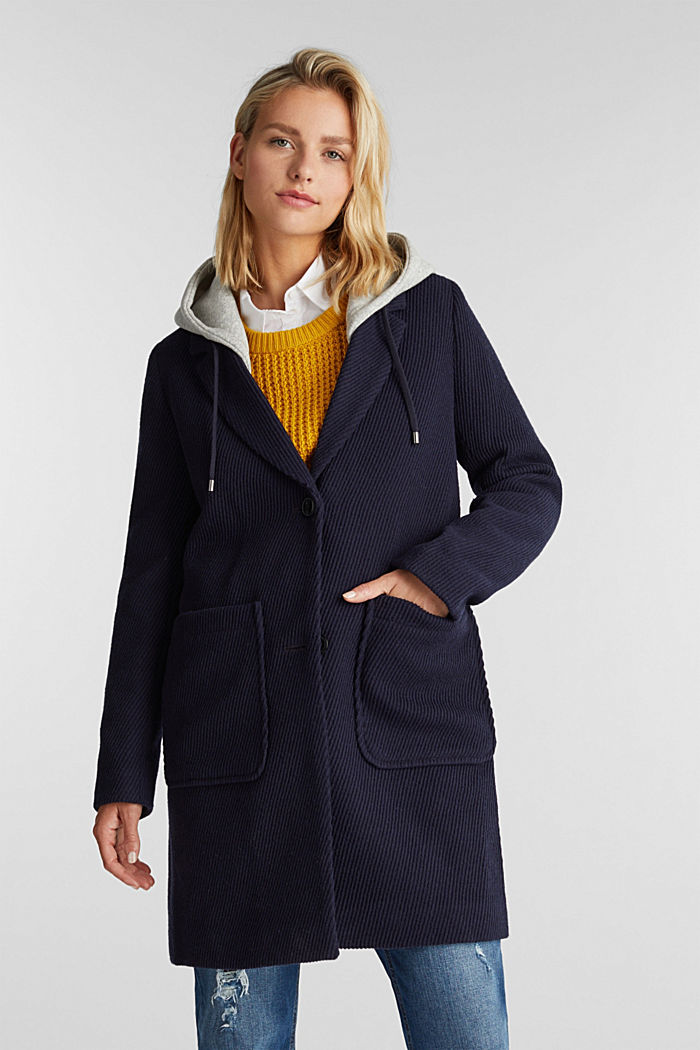 Coat with a detachable hood, NAVY, detail image number 0