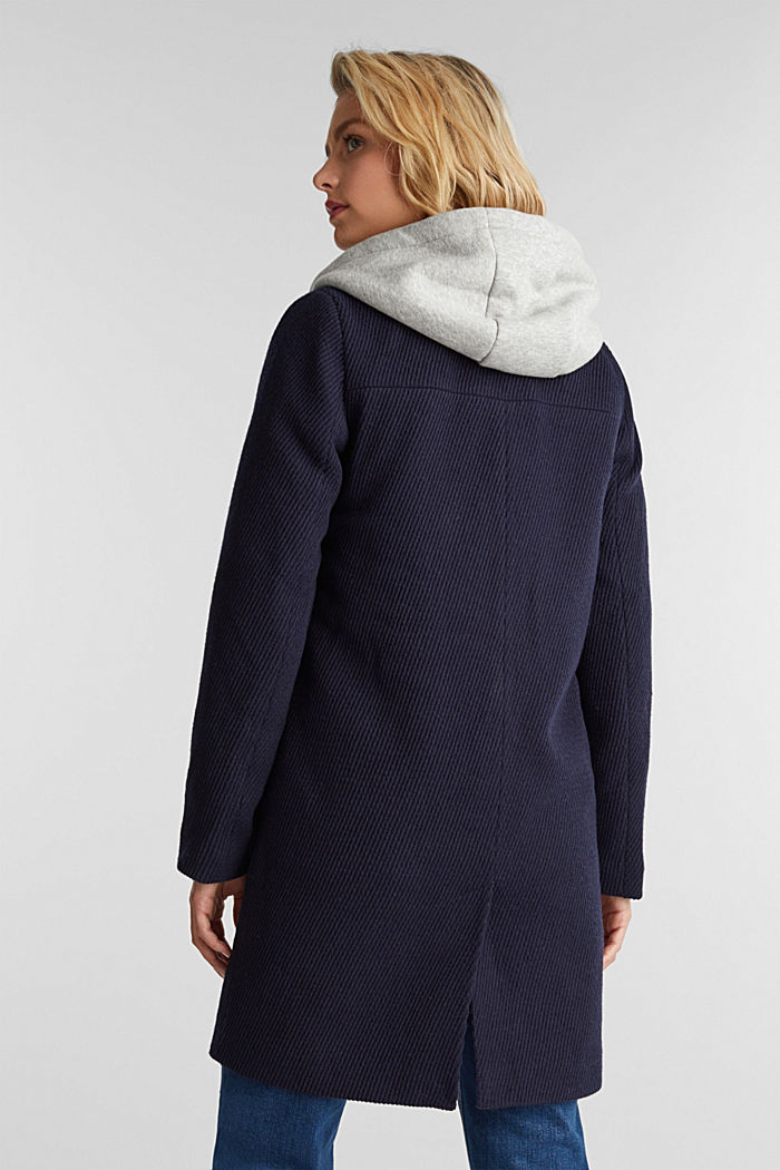 Coat with a detachable hood, NAVY, detail image number 3