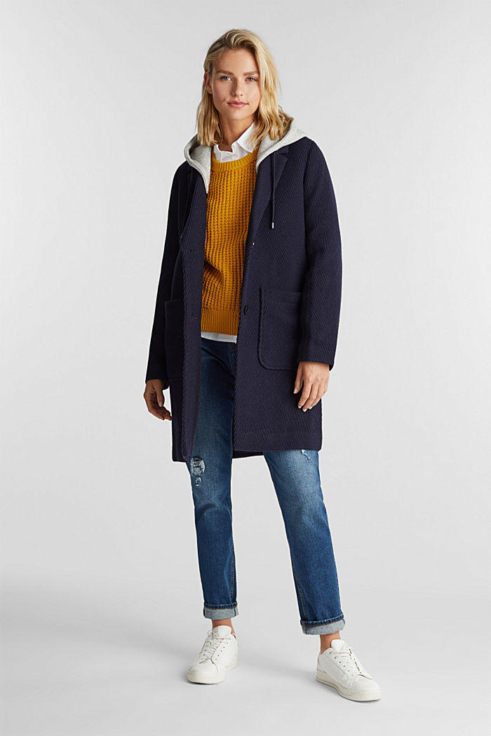 Coat with a detachable hood, NAVY, detail image number 1