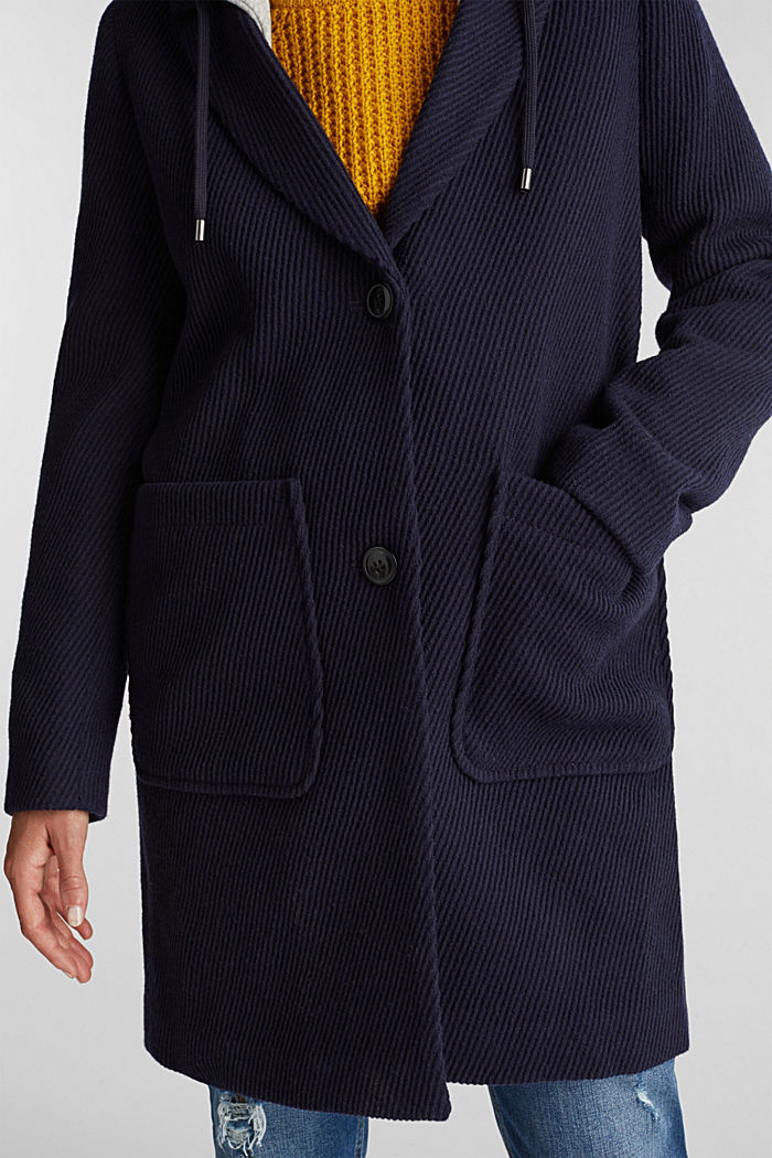 Coat with a detachable hood, NAVY, detail image number 2
