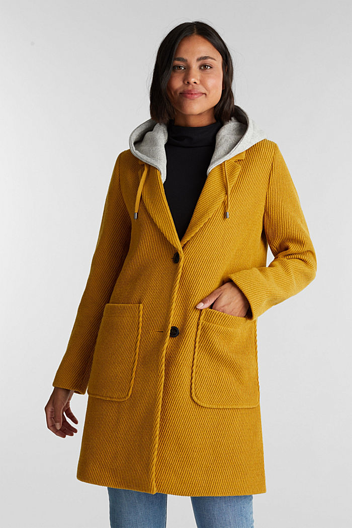 Coat with a detachable hood, BRASS YELLOW, detail image number 0