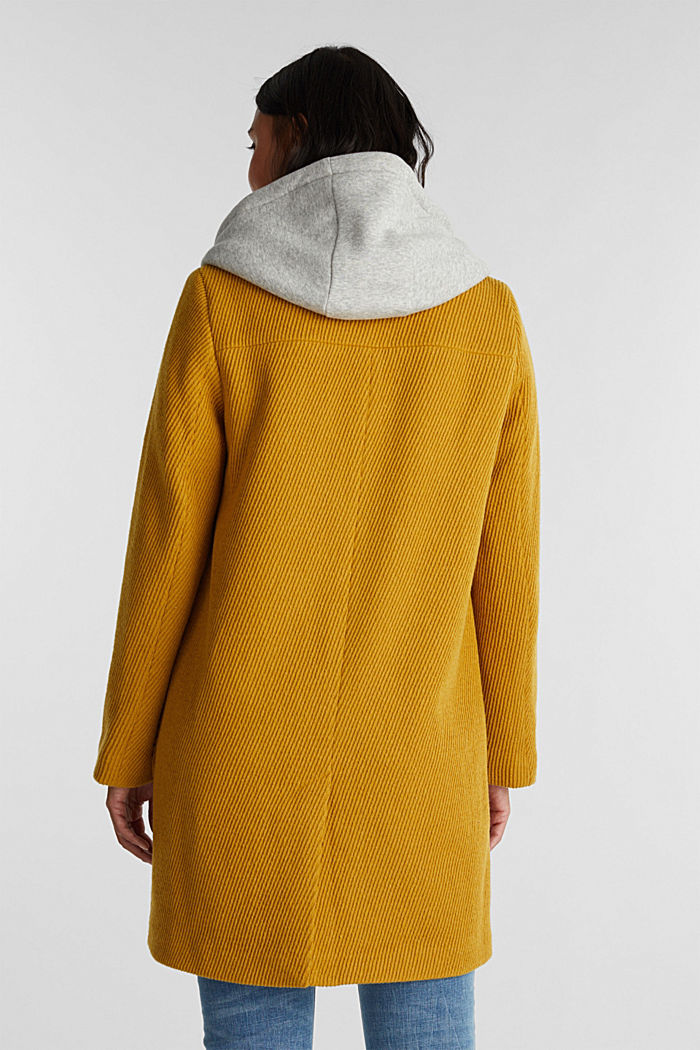 Coat with a detachable hood, BRASS YELLOW, detail image number 3