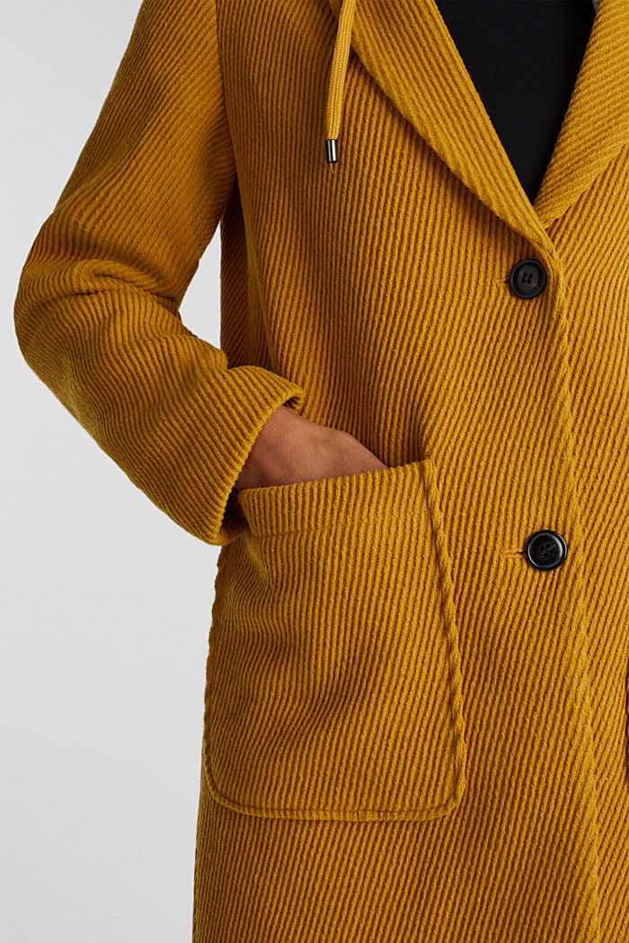 Coat with a detachable hood, BRASS YELLOW, detail image number 2
