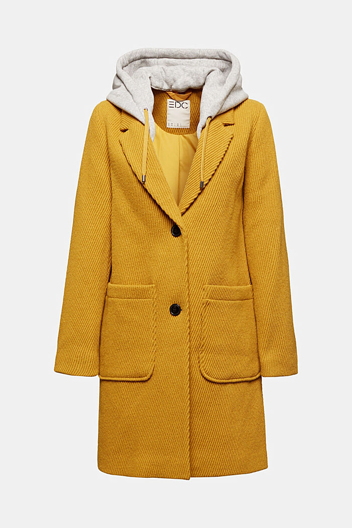 Coat with a detachable hood, BRASS YELLOW, detail image number 6