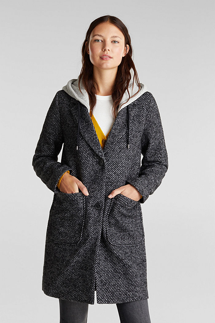 Recycled: wool coat with a jersey hood, BLACK, detail image number 0