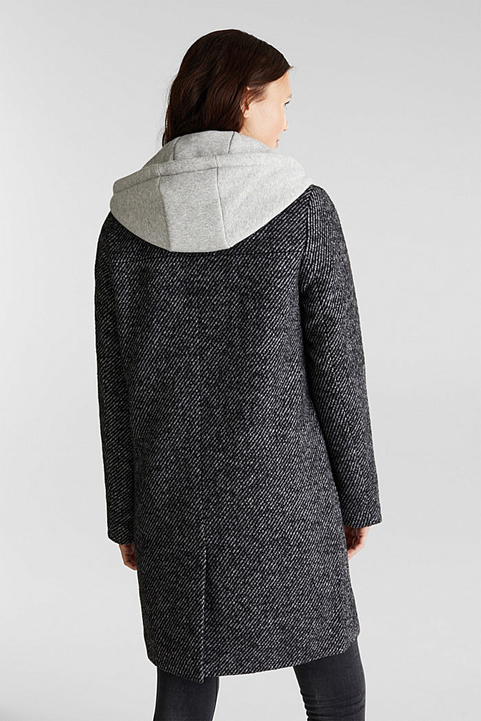 Recycled: wool coat with a jersey hood, BLACK, detail image number 3