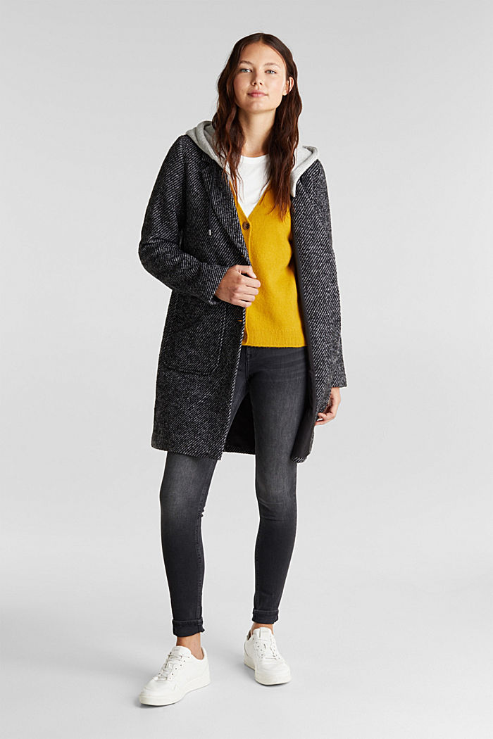 Recycled: wool coat with a jersey hood, BLACK, detail image number 1