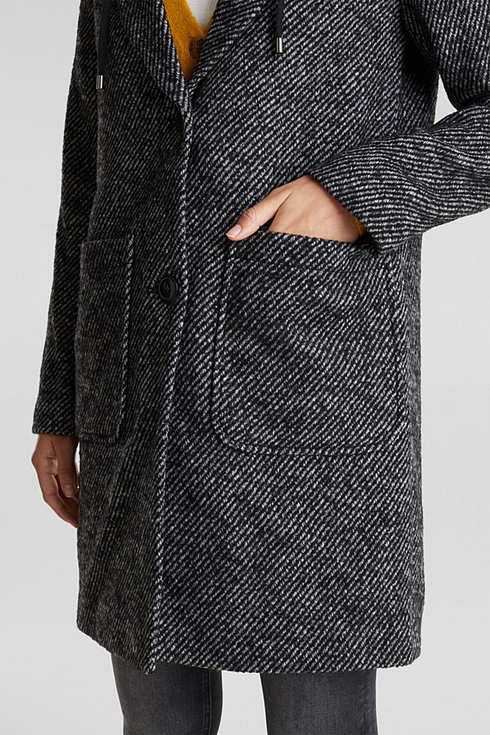 Recycled: wool coat with a jersey hood, BLACK, detail image number 2