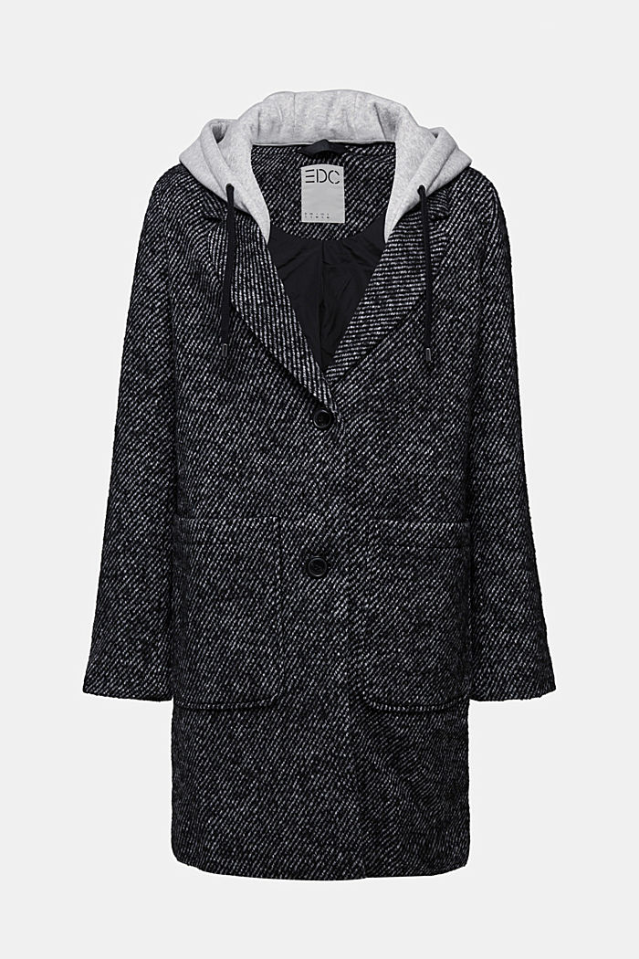 Recycled: wool coat with a jersey hood, BLACK, detail image number 7
