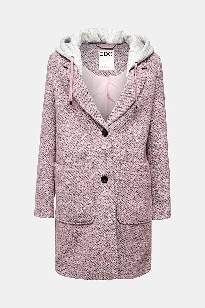 Recycelt: Woll-Mantel mit Jersey-Kapuze