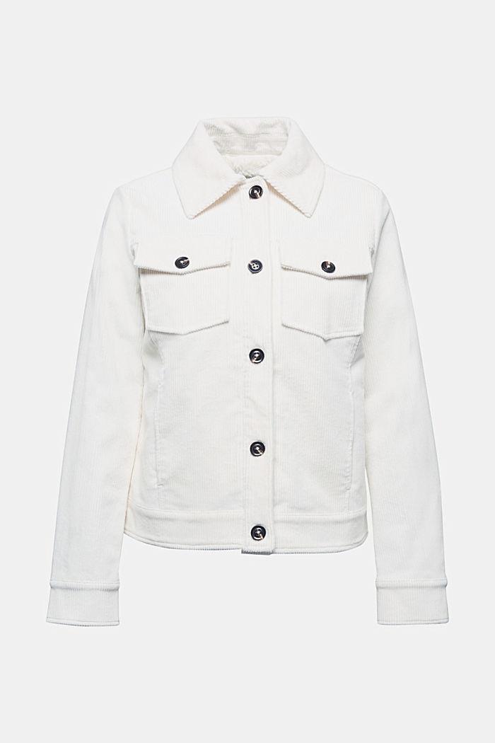 Corduroy jacket with teddy fur lining