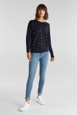 Embroidered jumper, 100% organic cotton, NAVY 4, detail