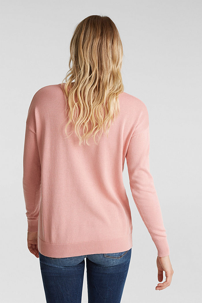 Embroidered jumper, 100% organic cotton, PINK, detail image number 3