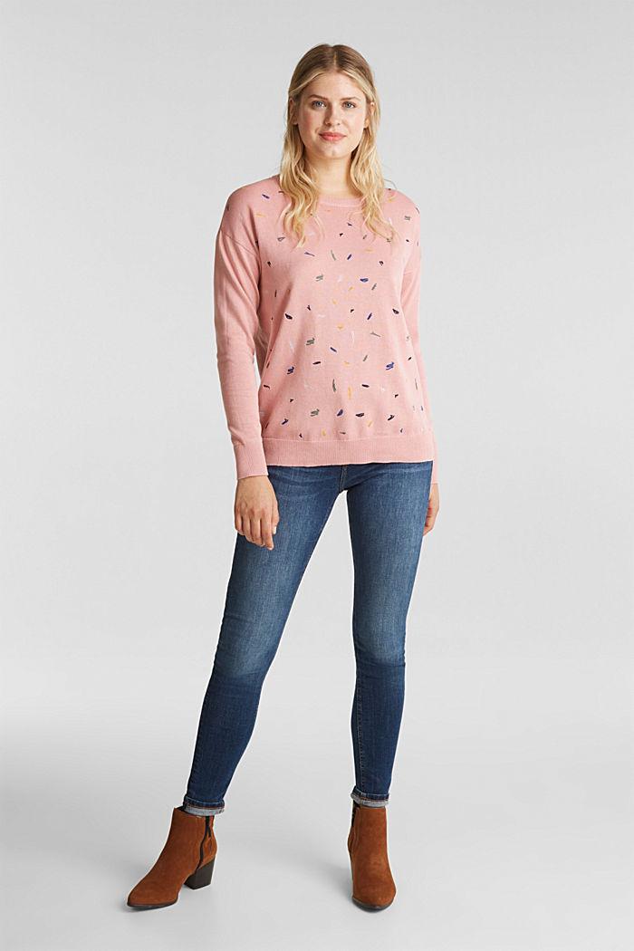 Bestickter Pullover, 100% Bio-Baumwolle, PINK, detail image number 1