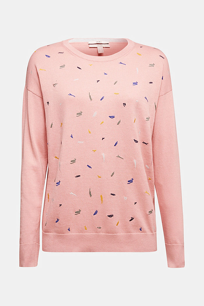 Embroidered jumper, 100% organic cotton, PINK, detail image number 5